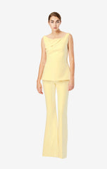 Halluana Side Zip Pale Yellow Trousers