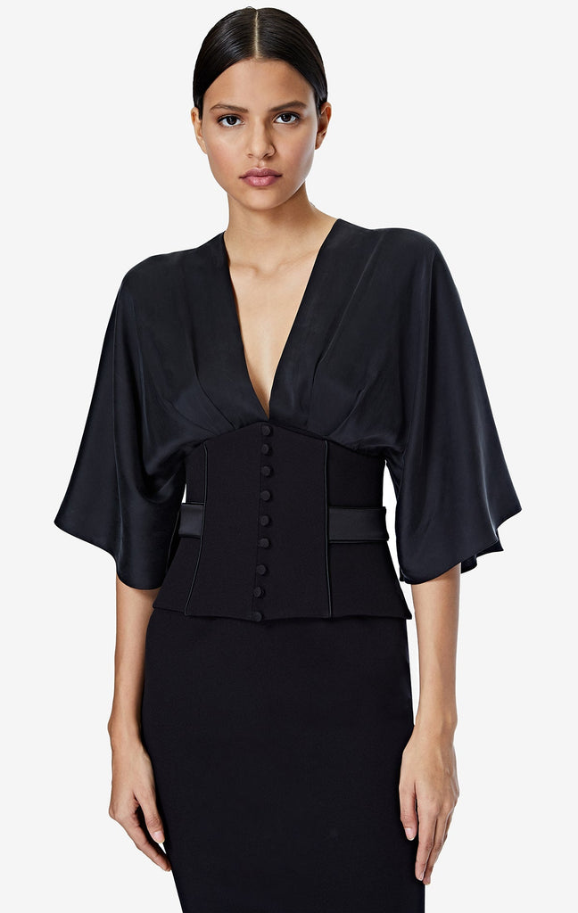 Ionie Belted Black Midi Dress