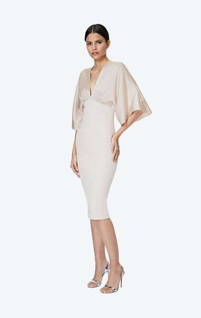 Ionie White Sand Midi Dress