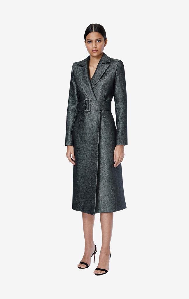 Victoria Sparkle Stretch Jacquard Long Coat