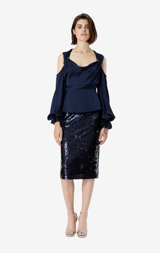 Hokoku Sequin Pencil Skirt