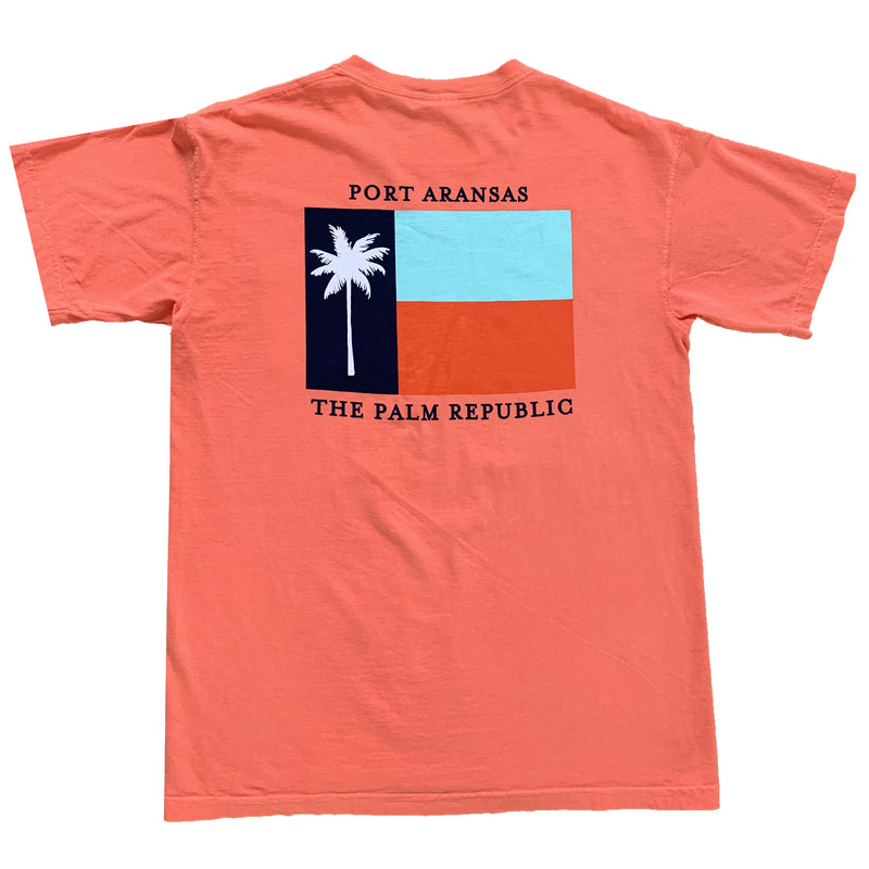 Coral Short Sleeve Flag Pocket Tee