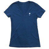 Ladies Navy V-neck Palm Tee