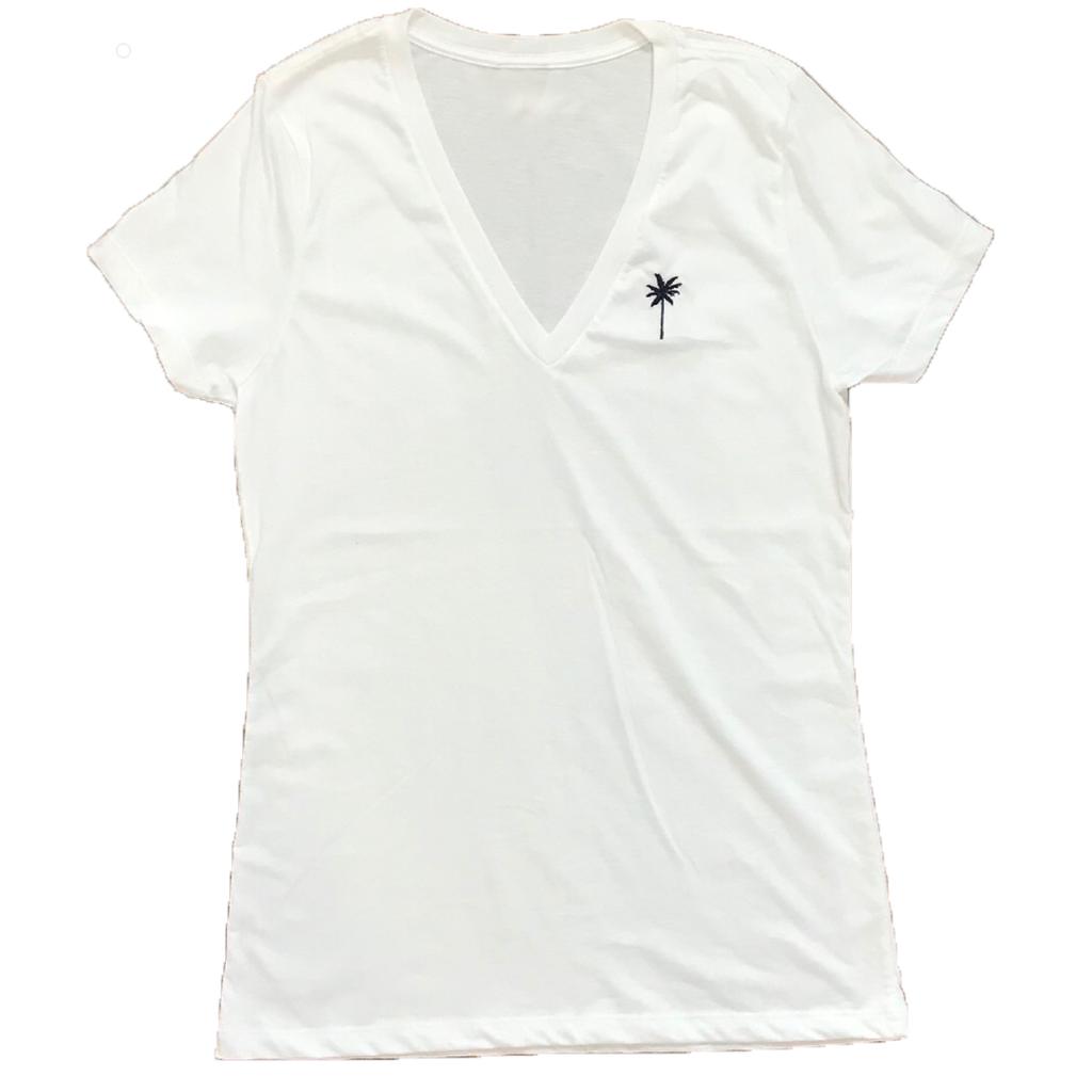 Ladies White V-neck Palm Tee