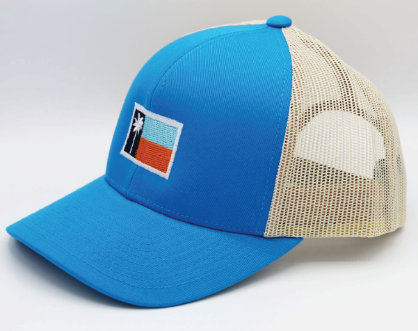 Bright Blue Mesh Sportsman's Flag Cap