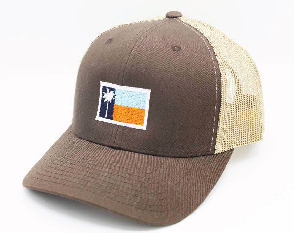Brown Mesh Sportsman's Flag Cap