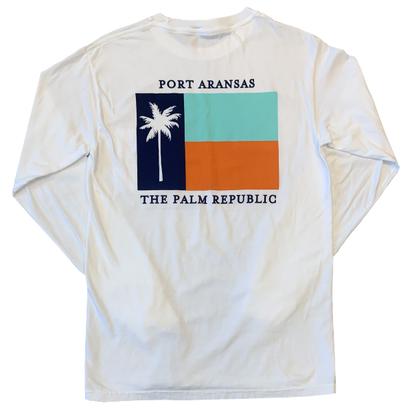 White Long Sleeve Flag Pocket Tee