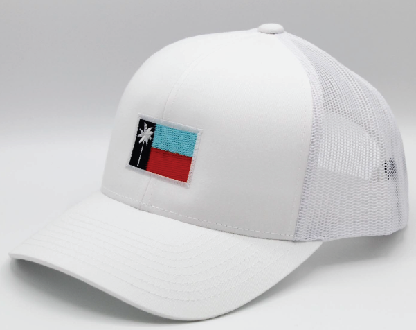 White Mesh Sportsman's Flag Cap