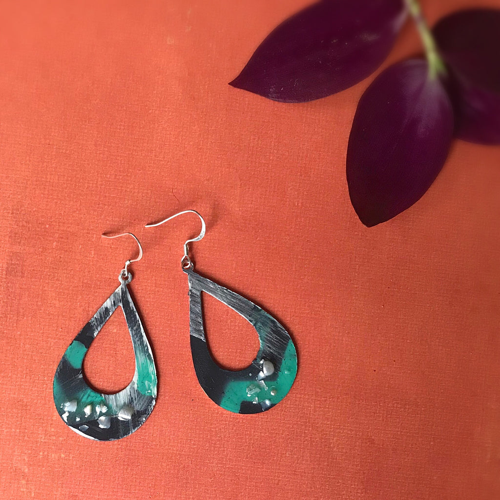 Pearl, Teal and Grey Hand painted Earrings