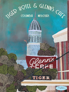 Glenn's Cafe and Tiger Hotel  - Full Color Poster Size 12x16