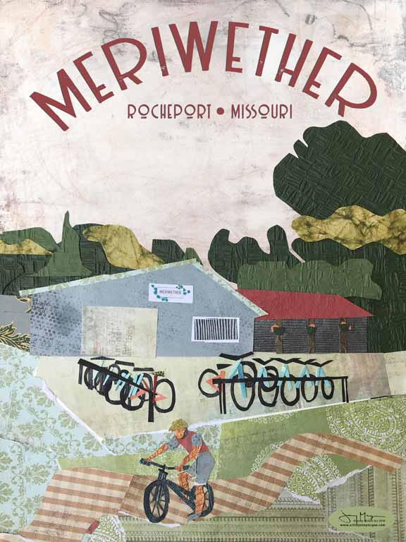Meriwether Café and Bike Shop - Full Color Poster Size 12x16