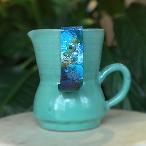 Hand painted cuff - medium size in turquoise