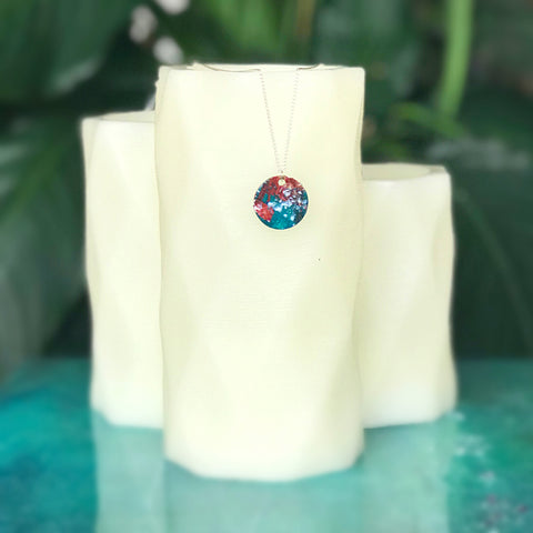 Hand painted pendant - bright circle