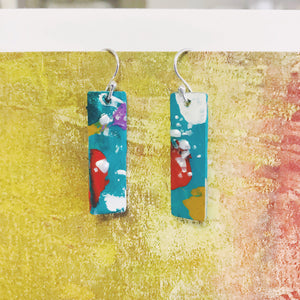 Hand painted earrings - bright rectangles