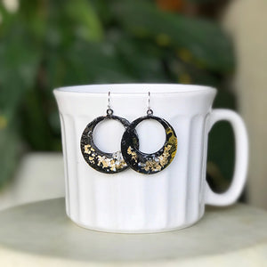 Hand painted earrings - Black and Gold hoops