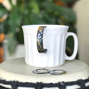 Hand painted cuff - medium size in black and gold
