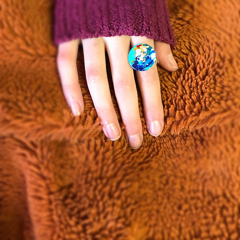 Hand painted circle ring - bright and colorful