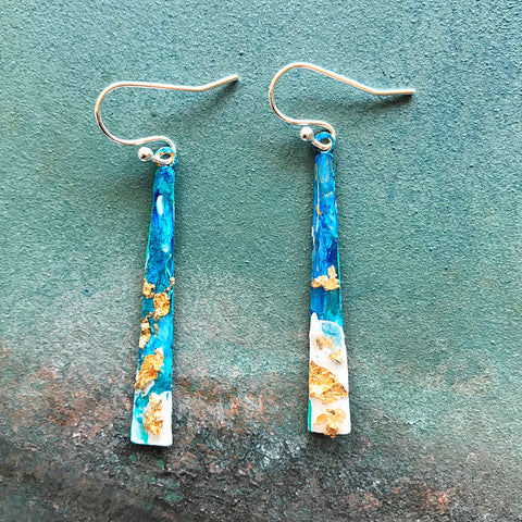 Hand painted earrings - thin triangle