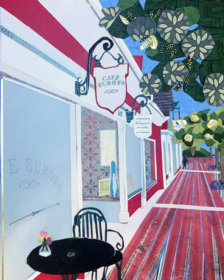 Commission of Cafe Europa and Brandon Jacobs Gallery Poster or Postcard