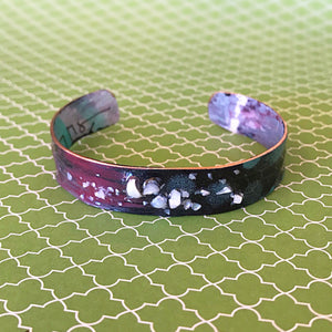 Pink, Black and Blue Polkadots - Hand painted Cuff - .5""