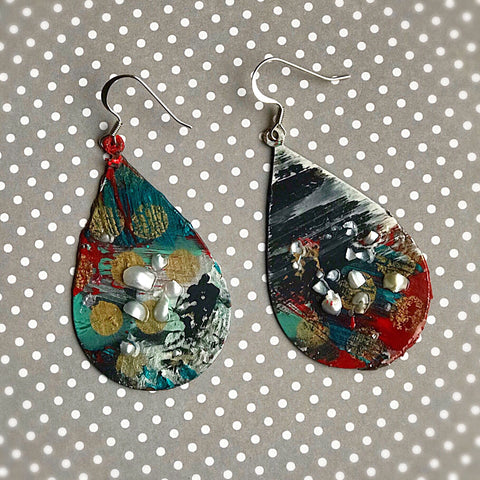 Polka fun TearDrops - Hand painted Earrings