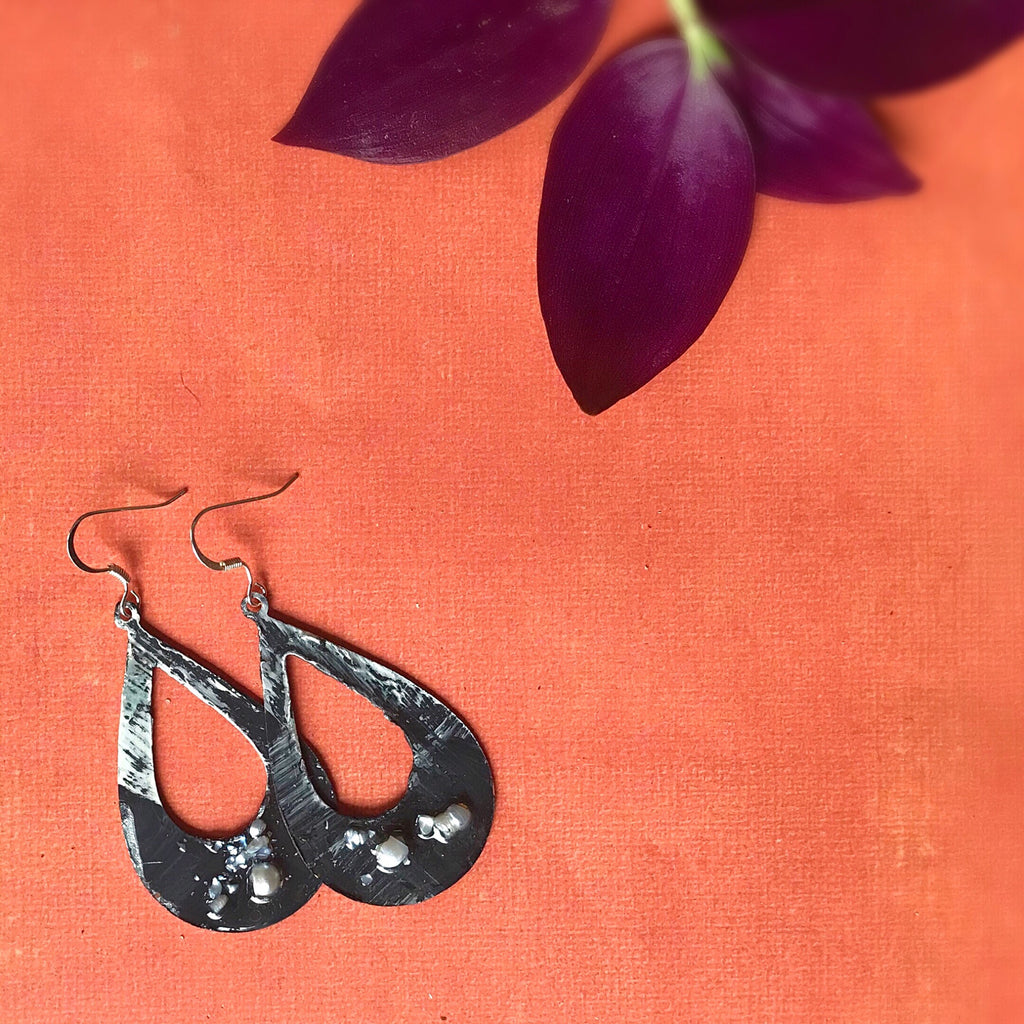 Black, White and Grey Hand painted Earrings