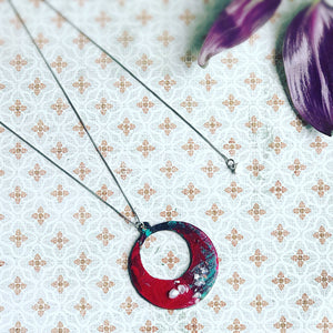 Eclipse - Hand painted pendant with pearl