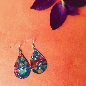 Festive Hand painted Teardrop Earrings