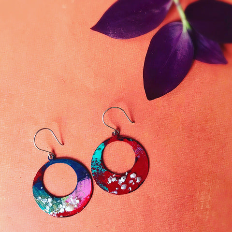 Lightweight Holiday Hoops - Hand painted Earrings