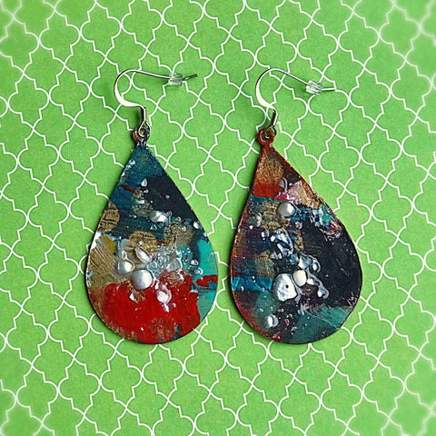 Festive and Colorful TearDrops - Hand painted Earrings