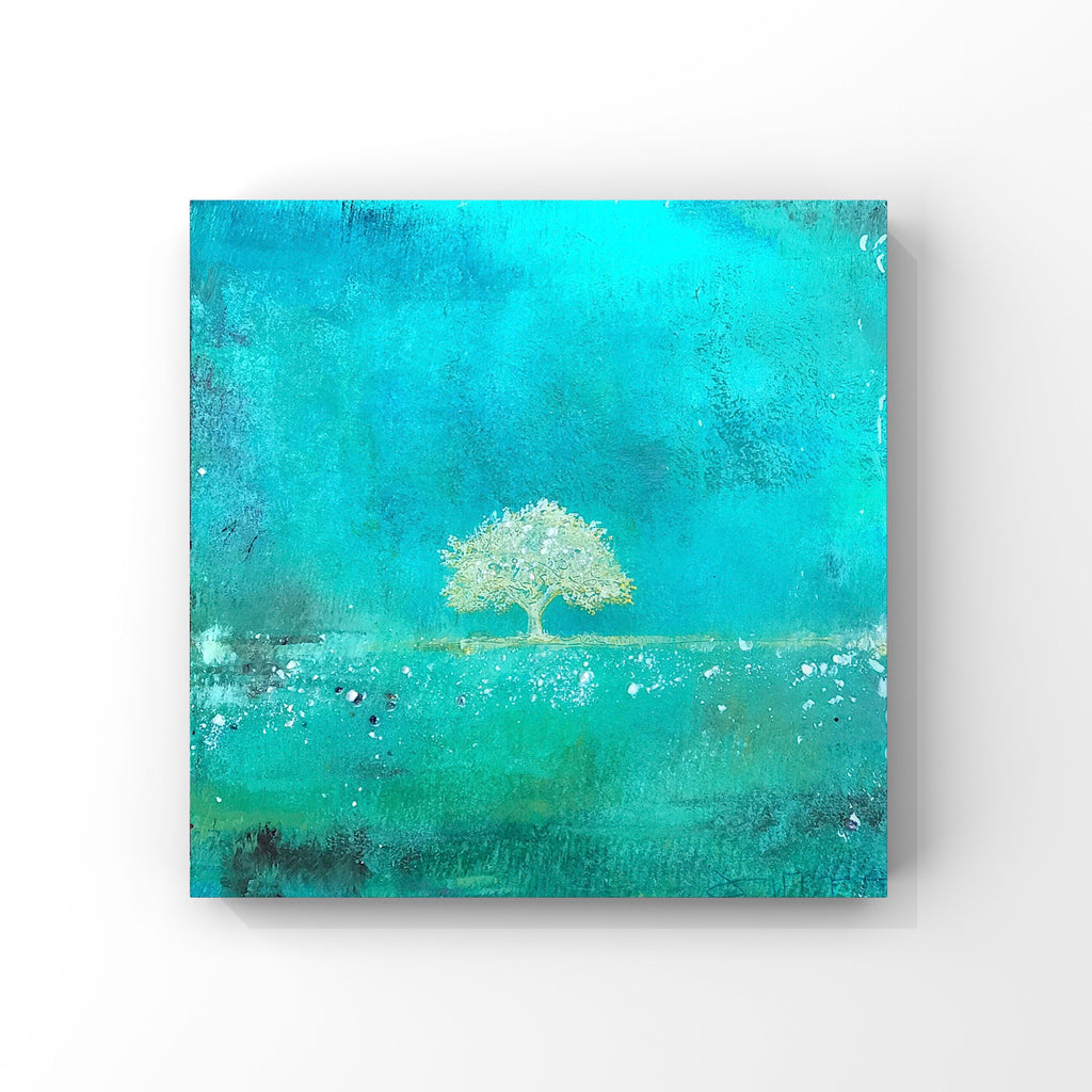 "Tree of Life III - Mixed Media Painting with Pearl Size 12""x12"""