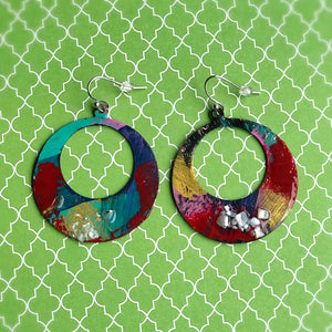 Happy and Festive Hoops - Hand painted earrings
