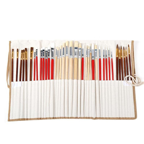 Image of 38 Piece Paint Brush Set With Canvas Bag