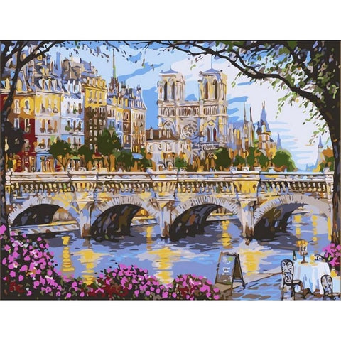 Image of Afternoon By The River Seine - Canvastly DIY Paint By