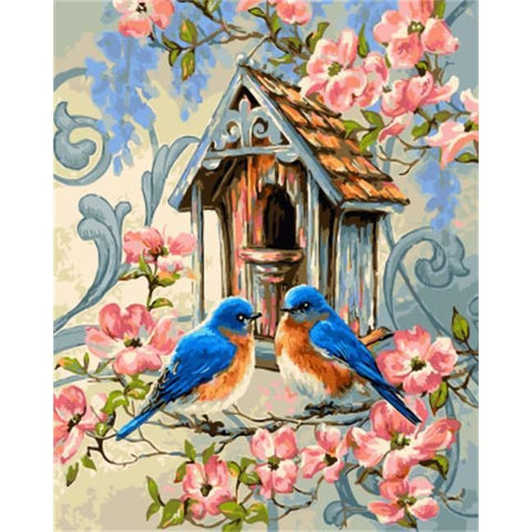 Image of Bluebirds of Happiness – Canvastly DIY Paint By Numbers - no