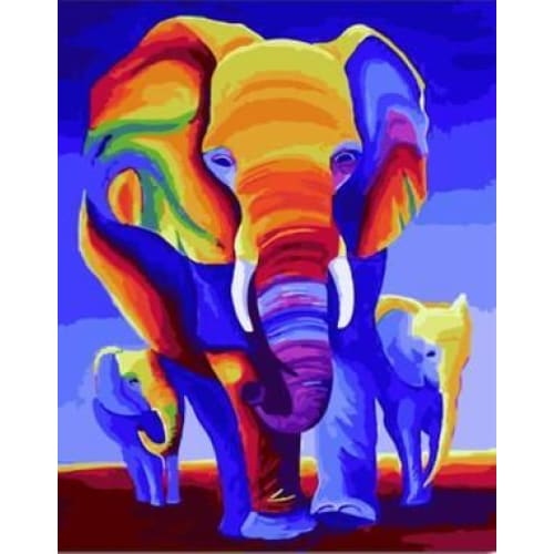 Colorful Elephant Family – Canvastly DIY Paint By Numbers -