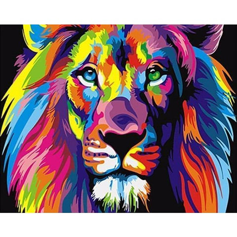 Image of Colorful Lion - Canvastly DIY Paint By Numbers -