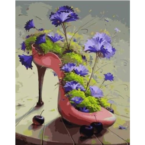 Image of Cornflowers in High Heels – Canvastly DIY Paint By Numbers -