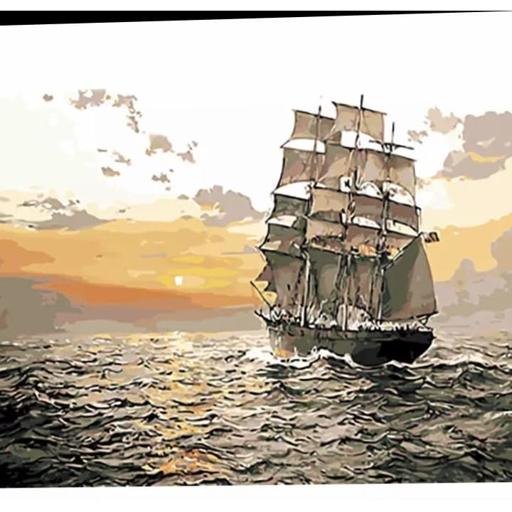 Filling the Sails – Canvastly DIY Paint By Numbers - 40X50