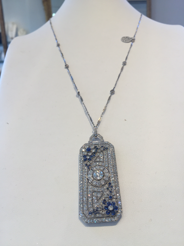 Platinum Necklace With 6.00cts In Diamonds And Sapphires, Circa 1920