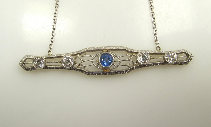 14k White Gold Necklace With 1ct In Diamonds And A 1ct Sapphire, Circa 1920.