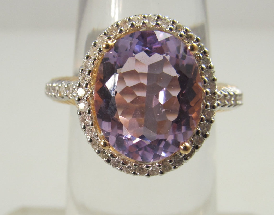 Rose gold amethyst diamond ring, antique jewelry, Victorious, Cape May