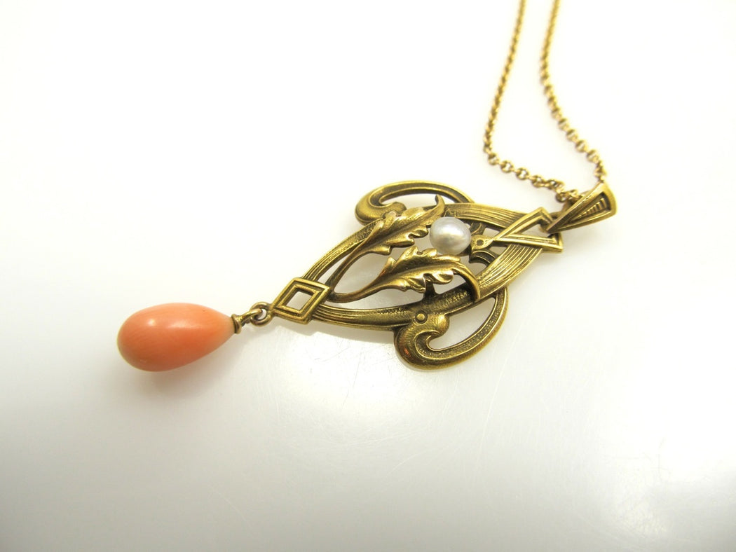 Art Nouveau 14k Yellow Gold Necklace With Coral And Pearl, Circa 1910