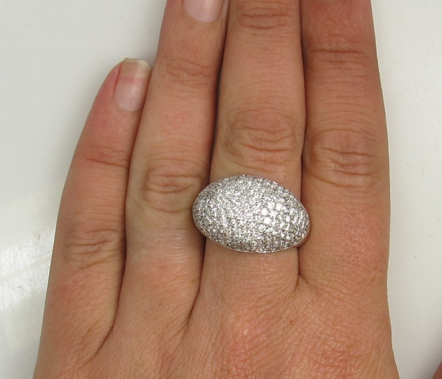 14k White Gold Dome Ring With 3cts In Pave Set Diamonds.
