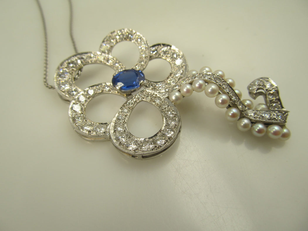 Platinum Necklace With 3cts In Diamonds, 2ct Sapphire And Pearls, Circa 1920