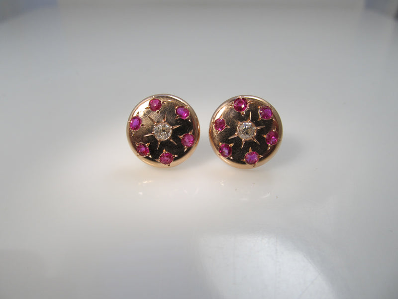 Antique 14k rose gold ruby and diamodn earrings