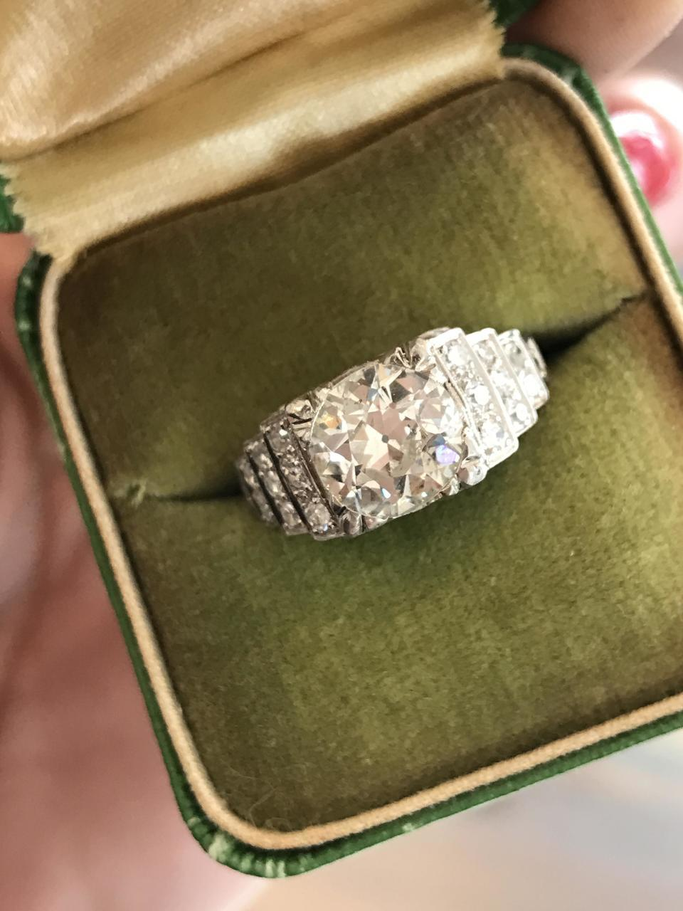 Antique Platinum Ring With A 2.15ct Diamond, Circa 1920