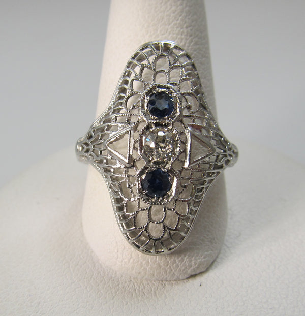 Long antique filigree sapphire diamond ring