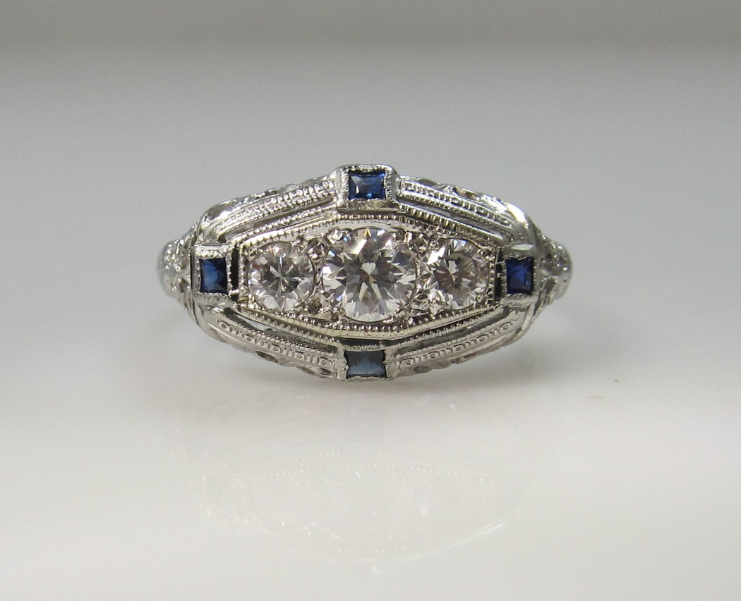 Art Deco 18k white gold filigree sapphire diamond ring