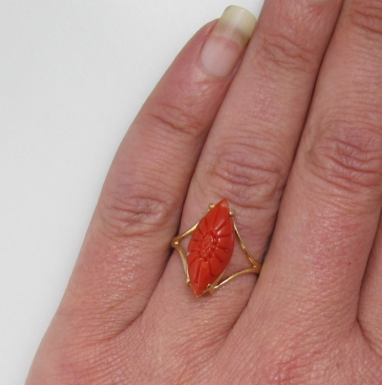 Estate carved coral flower ring, 14k yellow gold